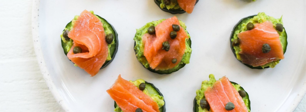 Smoked Salmon & Avocado Cucumber Bites