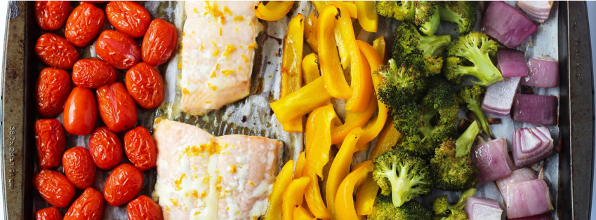 One Pan Salmon With Rainbow Veggies